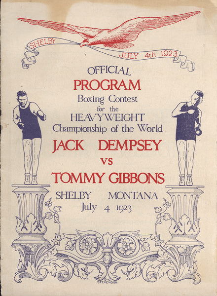 DEMPSEY, JACK-TOMMY GIBBONS OFFICIAL PROGRAM (1923)