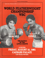 SANCHEZ, SALVADOR-WILFREDO GOMEZ OFFICIAL PROGRAM (1981)
