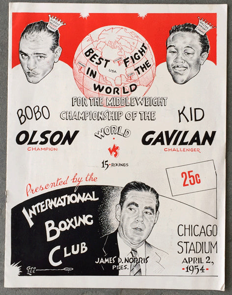OLSON, BOBO-KID GAVILAN OFFICIAL PROGRAM (1954)