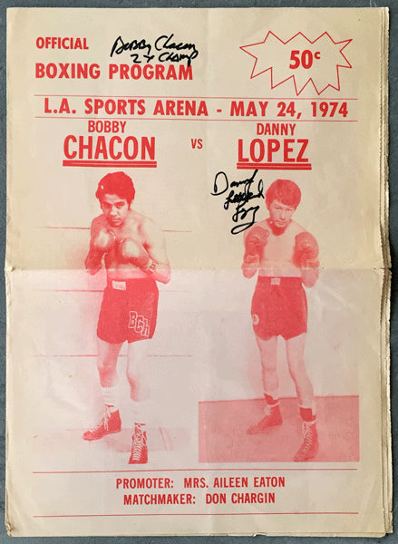 "CHACON, BOBBY-DANNY ""LITTLE RED"" LOPEZ OFFICIAL PROGRAM (1974-SIGNED BY BOTH FIGHTERS)"