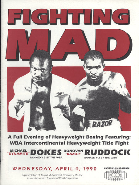 "DOKES, MICHAEL-DONOVAN ""RAZOR"" RUDDOCK OFFICIAL PROGRAM (1990)"