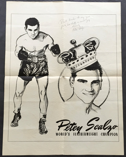 SCALZO, PETEY SIGNED PROMOTIONAL POSTER (TO FRED SADDY WHO FOUGHT JACK DEMPSEY)