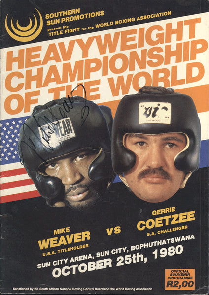 COETZEE, GERRIE-MIKE WEAVER OFFICIAL PROGRAM (1980-SIGNED BY WEAVER)