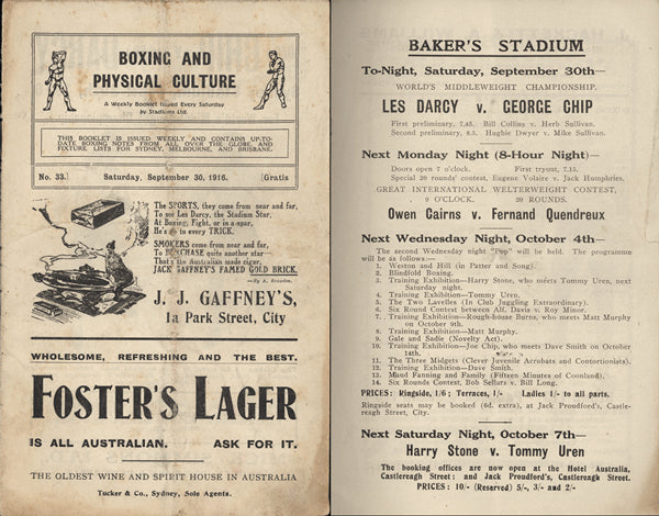 DARCY, LES-GEORGE CHIP OFFICIAL PROGRAM (1916)