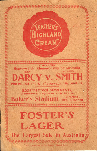 DARCY, LES-DAVE SMITH OFFICIAL PROGRAM (1916-AUSTRALIAN HEAVYWEIGHT TITLE)
