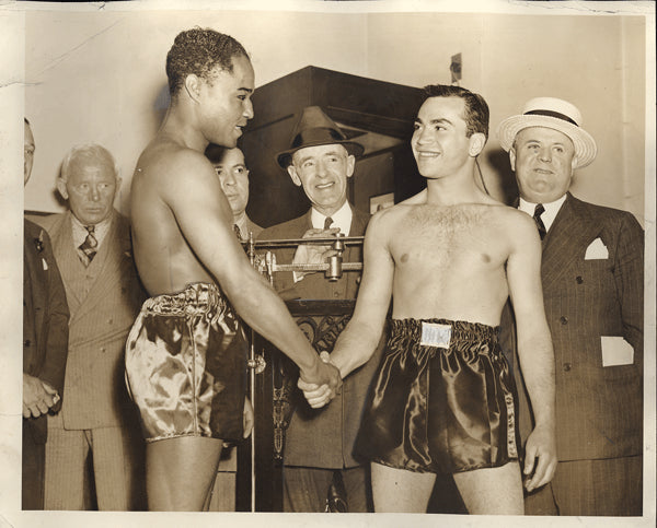 ARMSTRONG, HENRY-BARNEY ROSS WIRE PHOTO (1938-WEIGHING IN)
