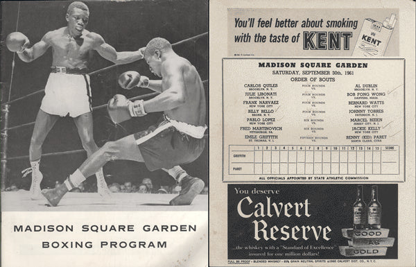 "GRIFFITH, EMILE-BENNY ""KID"" PARET OFFICIAL PROGRAM (1961-PARET WINS TITLE)"