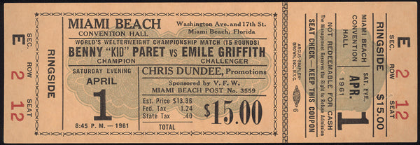 "GRIFFITH, EMILE-BENNY ""KID"" PARET FULL TICKET (1961-GRIFFITH WINS TITLE)"