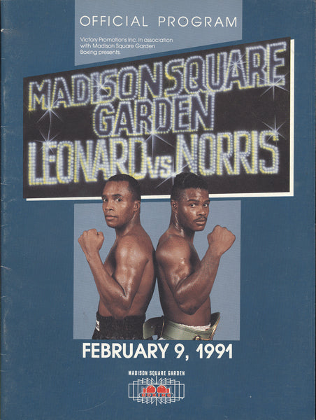 LEONARD, SUGAR RAY-TERRY NORRIS OFFICIAL PROGRAM (1991)