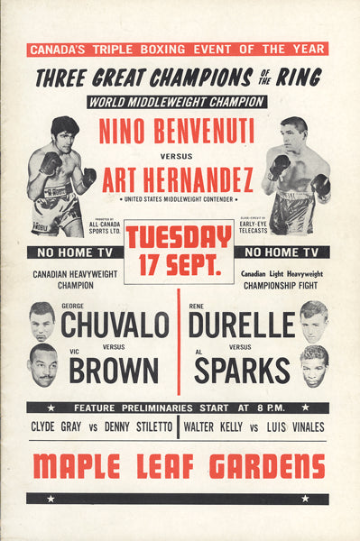 BENVENUTI, NINO-ART HERNANDEZ & GEORGE CHUVALO-VIC BROWN OFFICIAL PROGRAM (1968)