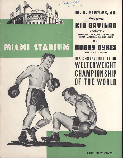 GAVILAN, KID-BOBBY DYKES OFFICIAL PROGRAM (1952)