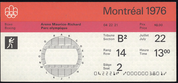1976 OLYMPIC BOXING FULL TICKET (LEONARD)