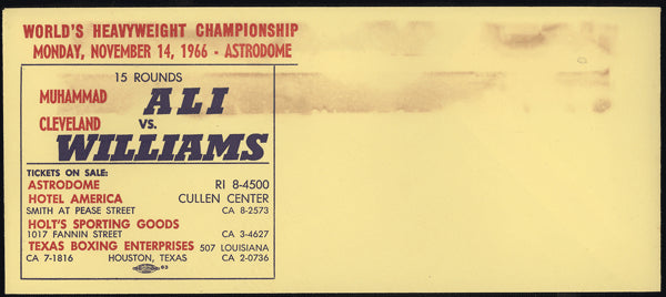 ALI, MUHAMMAD-CLEVELAND WILLIAMS FIGHT ENVELOPE (1966)