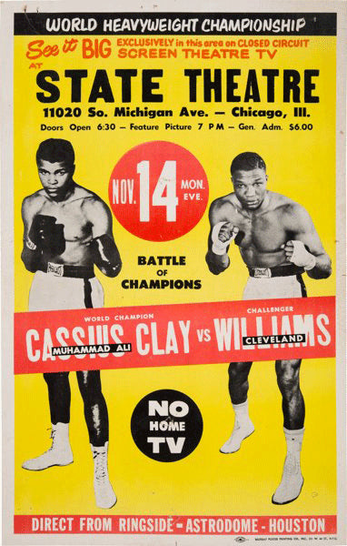 ALI, MUHAMMAD-CLEVELAND WILLIAMS CLOSED CIRCUIT POSTER (1966)