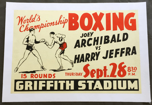 JEFFRA, HARRY-JOEY ARCHIBALD ON SITE POSTER (1939)