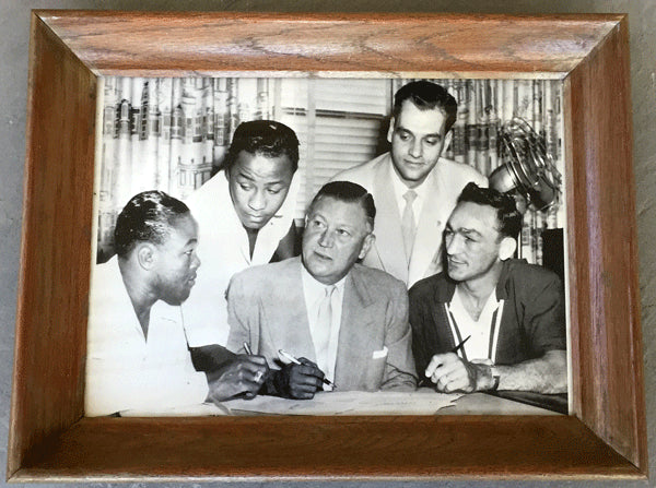 BASILIO, CARMEN-KID GAVILAN LARGE FORMAT PHOTOGRAPH (1953-CONTRACT SIGNING)