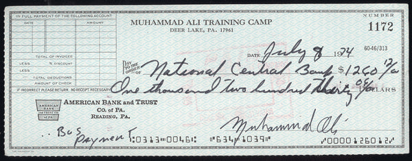 ALI, MUHAMMAD SIGNED TRAINING CAMP CHECK (TRAINING FOR FOREMAN-1974)