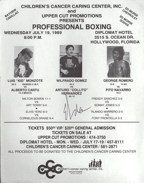 GOMEZ, WILFREDO-ARTURO HERNANDEZ ON SITE BROADSIDE/POSTER (1989-GOMEZ LAST FIGHT)