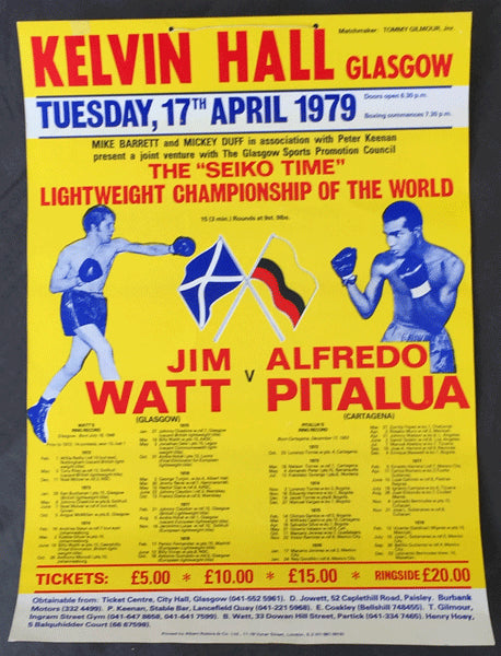 WATT, JIM-ALFREDO PITALUA ON SITE POSTER (1979-WATT WINS LIGHTWEIGHT TITLE)