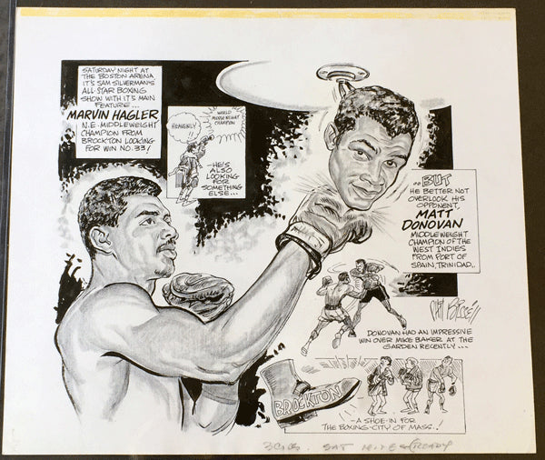 HAGLER, MARVIN-MATT DONOVAN CARTOON ARTWORK BY PHIL BISSELL (1976)