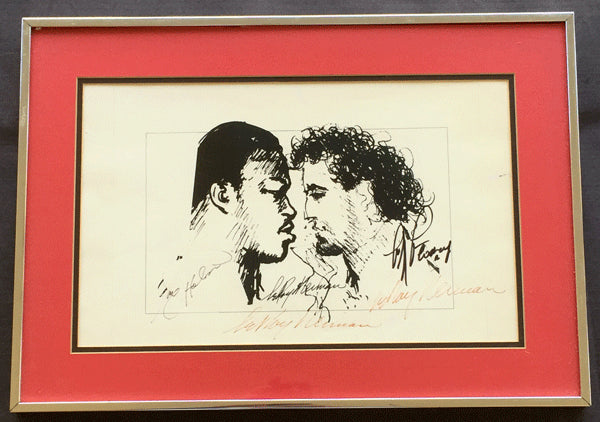 HOLMES, LARRY-GERRY COONEY SIGNED NEIMAN PRINT (1982-SIGNED BY HOLMES, COONEY, NEIMAN)