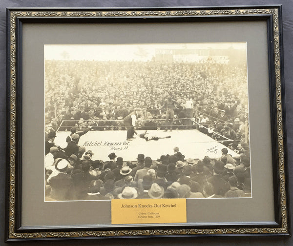 JOHNSON, JACK-STANLEY KETCHEL LARGE FORMAT PHOTOGRAPH (1909-THE KNOCKOUT)