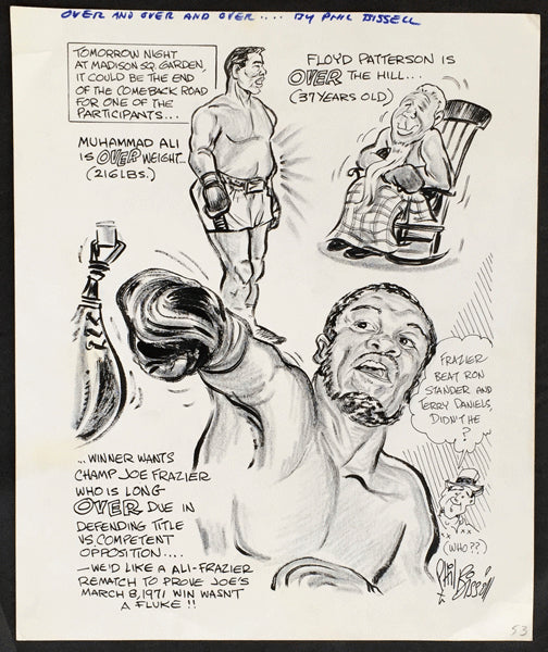 ALI, MUHAMMAD-FLOYD PATTERSON II CARTOON ART BY PHIL BISSELL (1972)