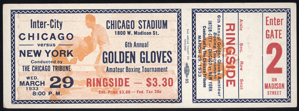 1933 INTERCITY GOLDEN GLOVES FULL TICKET (RODAK, PASTOR, MAREK, DUDAS)