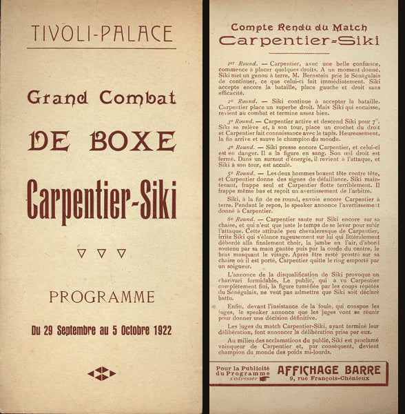 SIKI, BATTLING-GEORGES CARPENTIER POST FIGHT PROGRAM (1922)