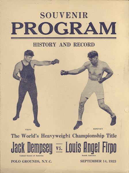 DEMPSEY, JACK-LUIS FIRPO OFFICIAL SOUVENIR PROGRAM (1923)