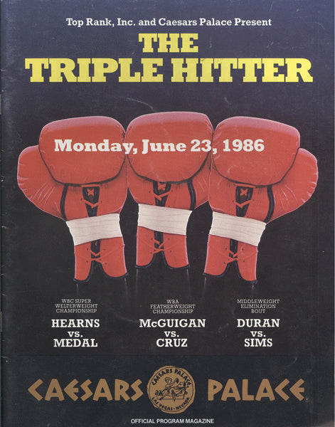 DURAN, ROBERTO-ROBBIE SIMS & HEARNS-MEDAL & MCGUIGAN-CRUZ OFFICIAL PROGRAM (1986)