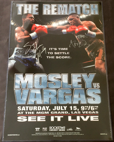 MOSLEY, SUGAR SHANE-FERNANDO VARGAS SIGNED ON SITE POSTER (2006-SIGNED BY BOTH)