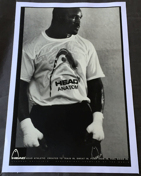 HOLYFIELD, EVANDER HEAD ATHLETIC ADVERTISING POSTER (1990'S)