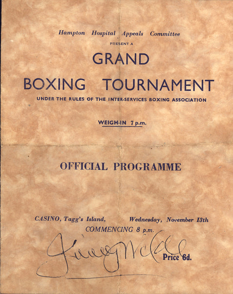 WILDE, JIMMY SIGNED BOXING PROGRAM