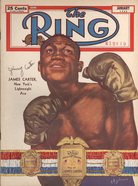 CARTER, JIMMY SIGNED RING MAGAZINE (JANUARY 1952)