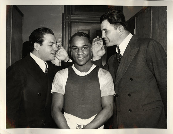 ARMSTRONG, HENRY & JIMMY BRADDOCK & BARNEY ROSS WIRE PHOTO (1937)