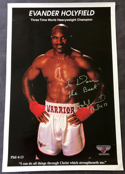 HOLYFIELD, EVANDER SIGNED 3 TIME CHAMPION POSTER (SIGNED TO TRAINER DON TURNER)