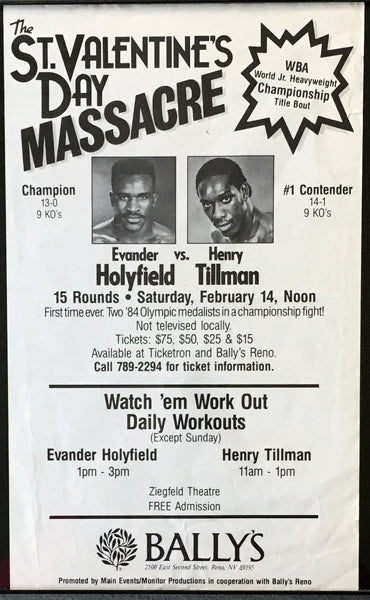 HOLYFIELD, EVANDER-HENRY TILLMAN PRE FIGHT WORK OUT POSTER (1987)
