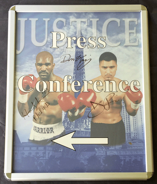 HOLYFIELD, EVANDER-JOHNNY RUIZ I SIGNED ON SITE PRESS CONFERENCE POSTER (2000)