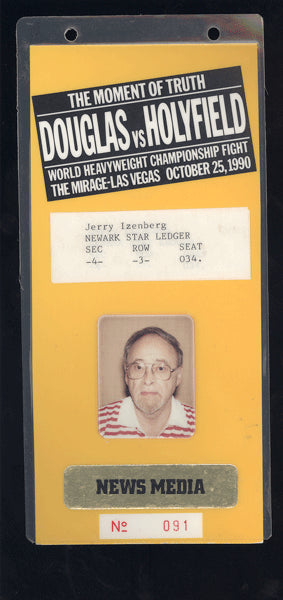 "HOLYFIELD, EVANDER-JAMES ""BUSTER"" DOUGLAS NEWS MEDIA CREDENTIAL (1990)"