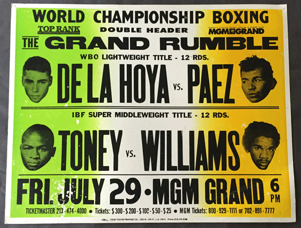 DE LA HOYA, OSCAR-JORGE PAEZ & TONEY-WILLIAMS OFFICIAL ON SITE POSTER (1994)