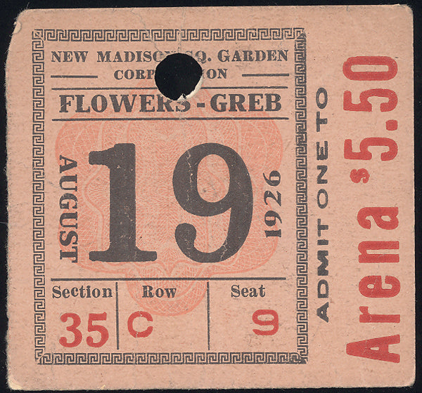 GREB, HARRY-TIGER FLOWERS ORIGINAL TICKET STUB (1926-GREB'S LAST FIGHT)