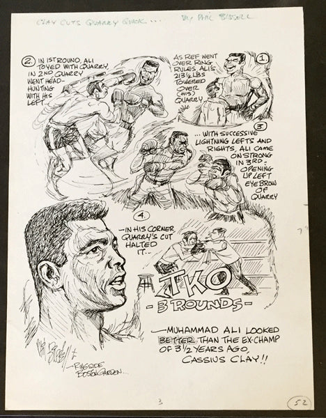 ALI, MUHAMMAD-JERRY QUARRY I CARTOON ART BY PHIL BISSELL (1970)