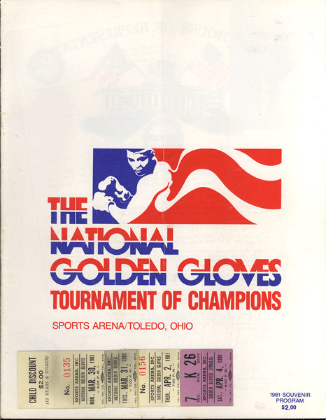 1981 NATIONAL GOLDEN GLOVES TOURNAMENT OFFICIAL PROGRAM (1981-PAZIENZA, HILL, MCCRORY)