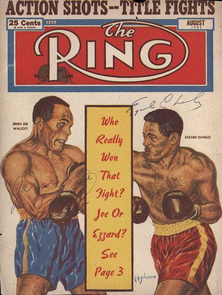 CHARLES, EZZARD-JERSEY JOE WALCOTT SIGNED RING MAGAZINE COVER (1952-SIGNED BY BOTH)