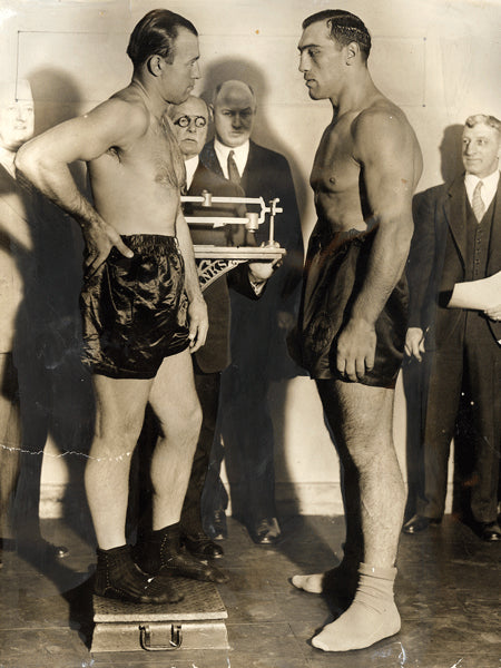 CARNERA, PRIMO-JACK SHARKEY WIRE PHOTO (1931-WEIGHING IN)