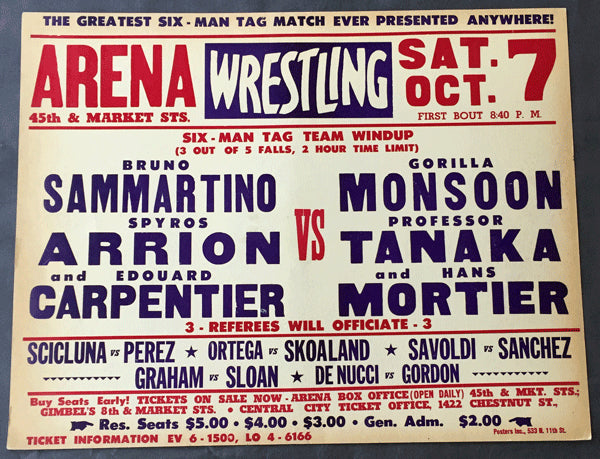 SAMMARTINO, ARION & CARPENTIER-MONSOON, TANAKA & MORTIER ON SITE WRESTLING POSTER (1967)