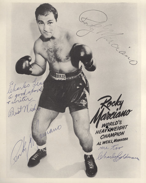 MARCIANO, ROCKY & CHARLEY GOLDMAN SIGNED PHOTO