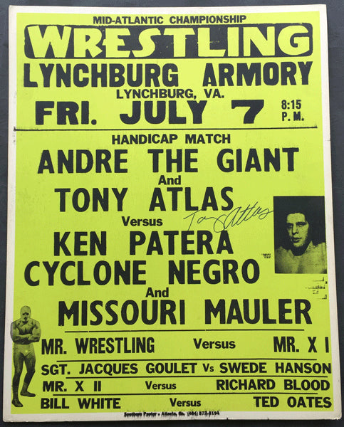 ANDRE THE GIANT & TONY ATLAS-KEN PATERA, CYCLONE NEGRO & MISSOURI MAULER ON SITE POSTER (1978)