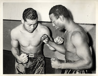LOUIS, JOE-JOHN HENRY LEWIS WIRE PHOTO (1939-SQUARING OFF AT WEIGH IN)